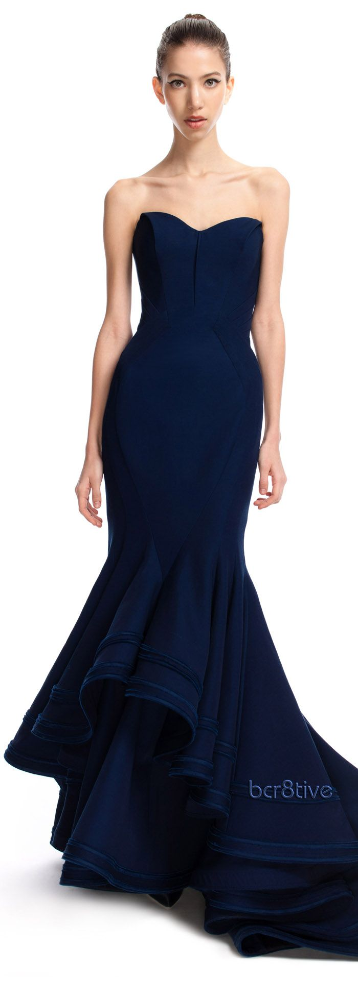 Zac posen violet blue tiered mermaid gown the perfect wedding