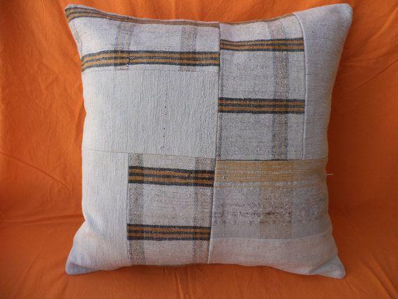 "Kilim Pathcwork Pillow Cover,20""x20"" inch White Decorative Turkish Kilim Rug Pillow Cover,Turkish Pathcwork Pillow Cover,Oversize Pillow."