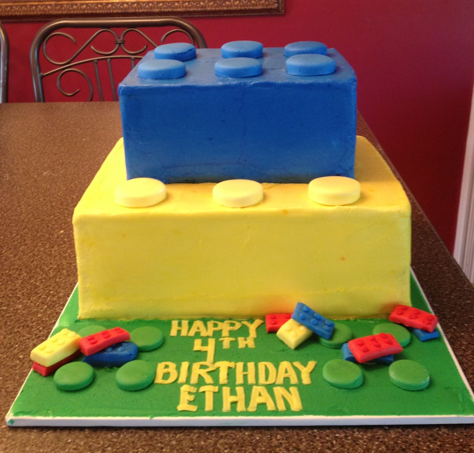 Lego Cake I used a 12x18 sheet cake cut in half stacked for the