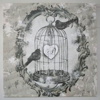 tableau mathilde m oiseaux cage d co romantique carte illustration pinterest deco. Black Bedroom Furniture Sets. Home Design Ideas