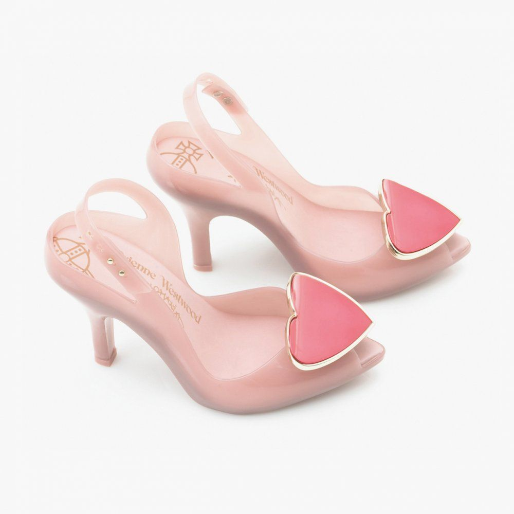 Vivienne Westwood Melissa Scented Shoes Pink & Gold with Heart Accessorie :)