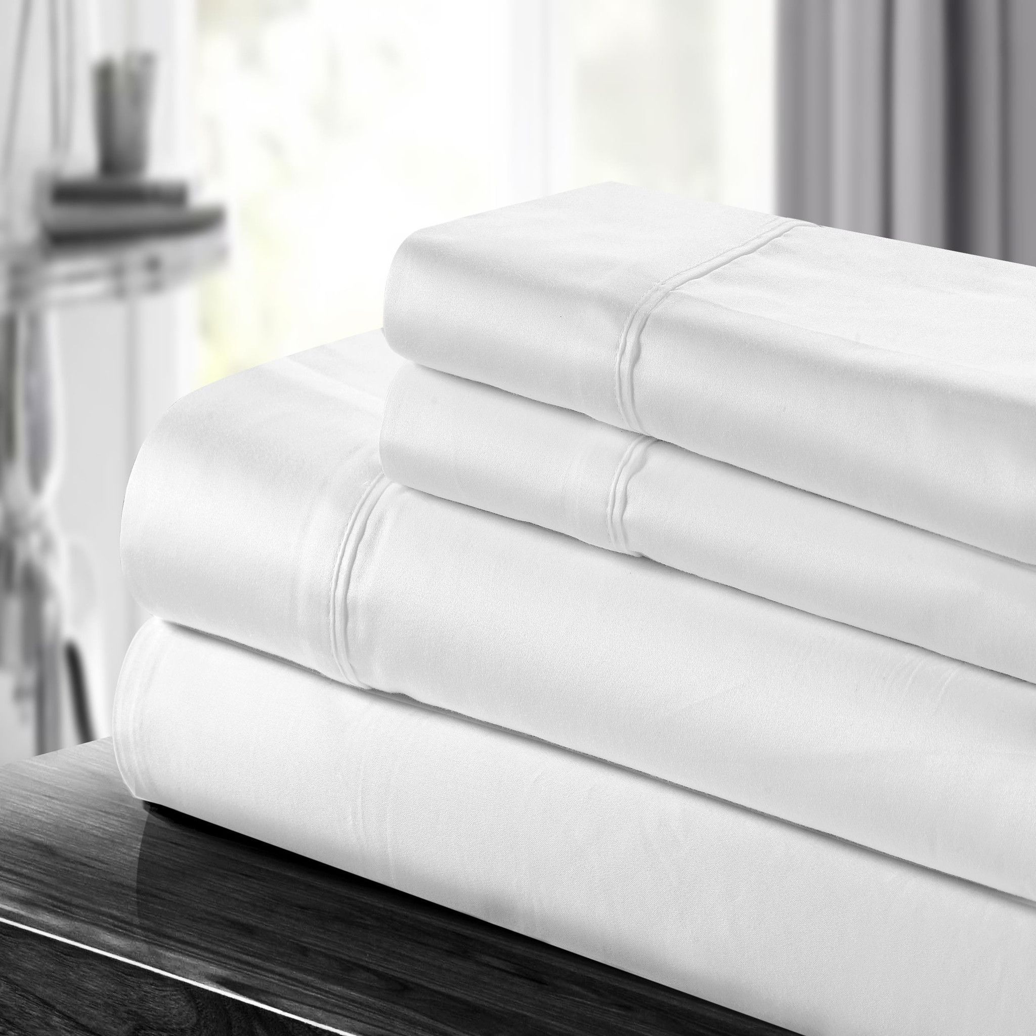 Chic home cotton thread count sheet set white queen king
