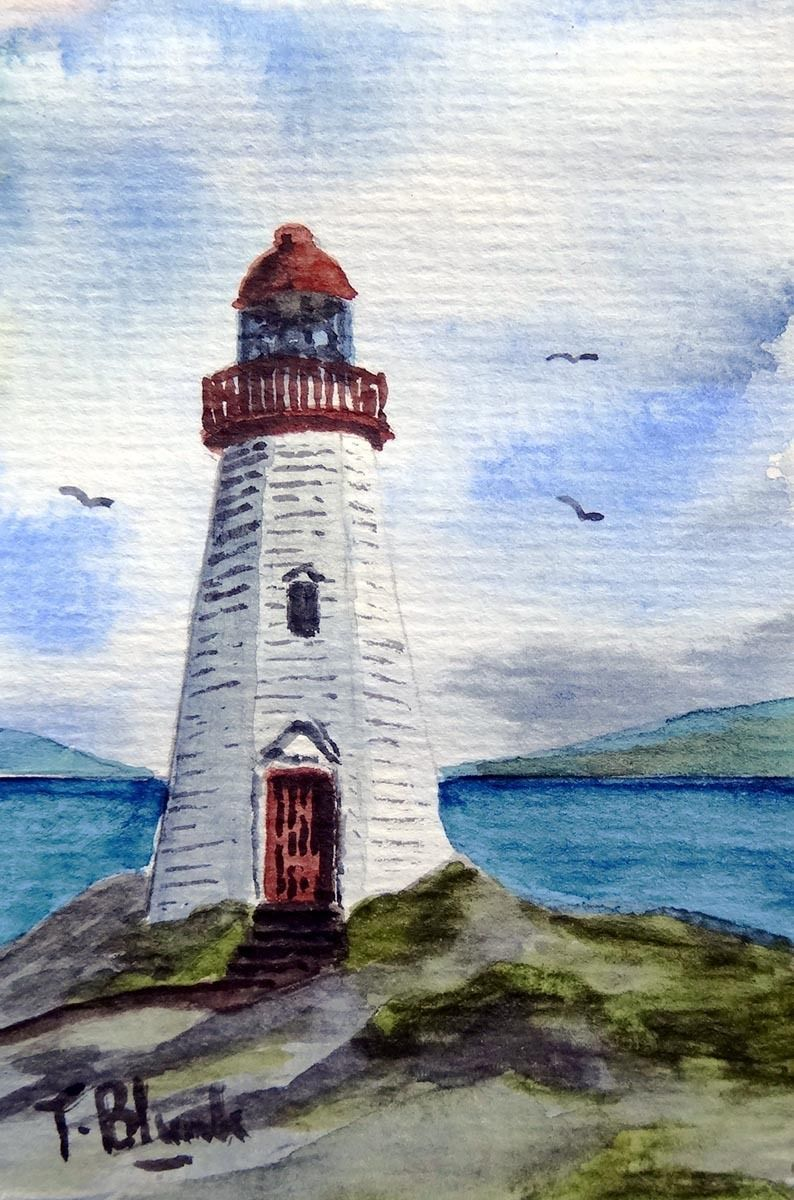 Original Aquarell Kleiner Leuchtturm An Der Ostkuste Der Usa
