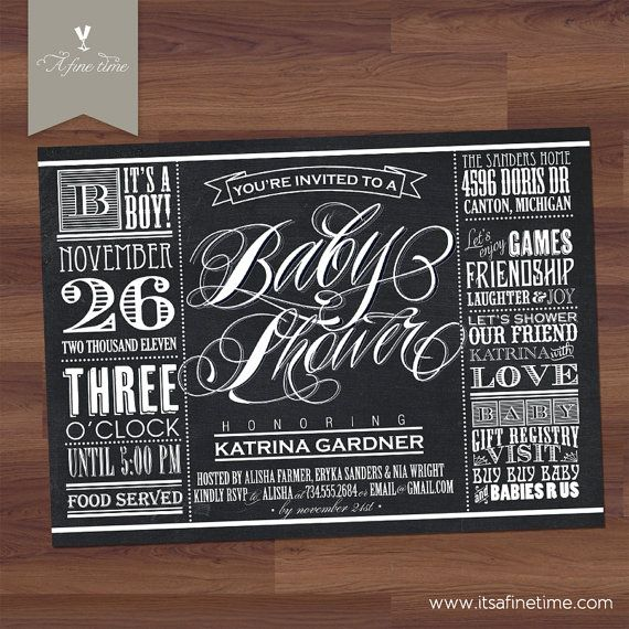 "Baby Shower Invitation - ""Lucky Label Chalkboard"" Vintage Typography  Label / Poster Style - Boy, Girl, Twins, Gender Neutral (Printable)"