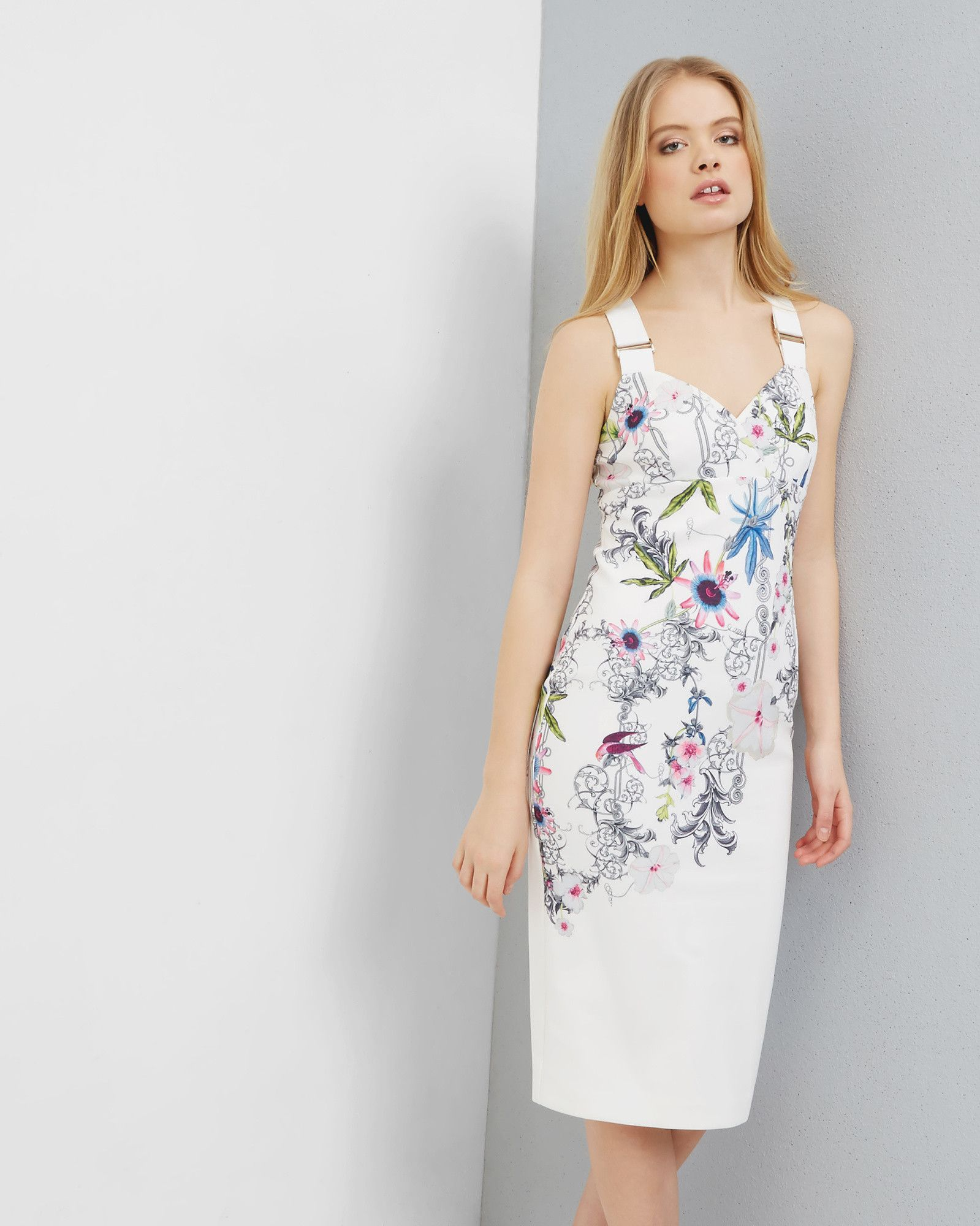 Passion Flower Bodycon Dress Yellow Dresses Ted Baker Dress
