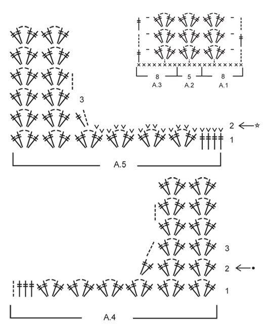 Chaqueta de ganchillo DROPS con patrón de calados y puntos altos en ...