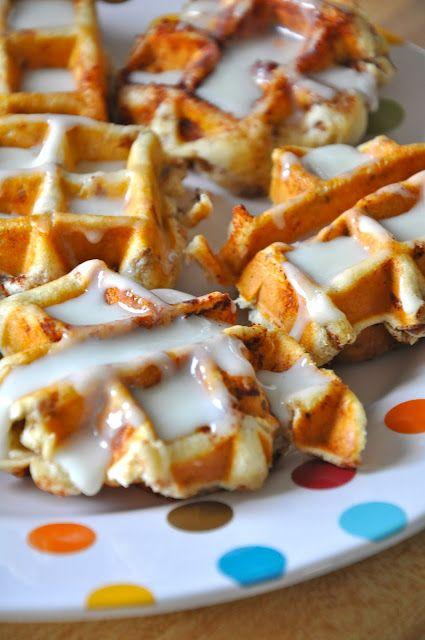 cinnamon rolls in a waffle iron