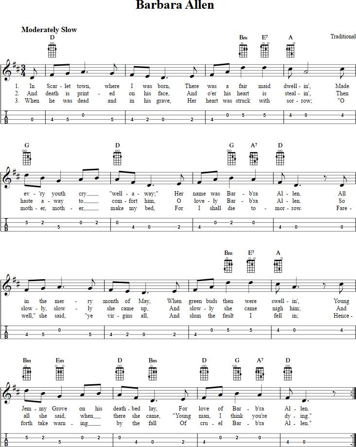 Barbara Allen Mandolin Tab | Mandolin | Mandolin, Music, Sheet music