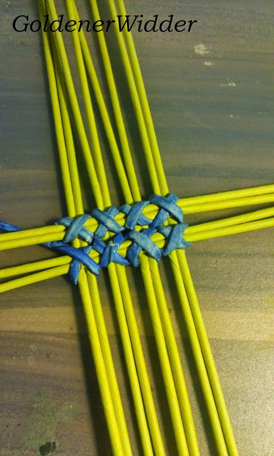 схема плетения круглой корзины с бумажных трубочек