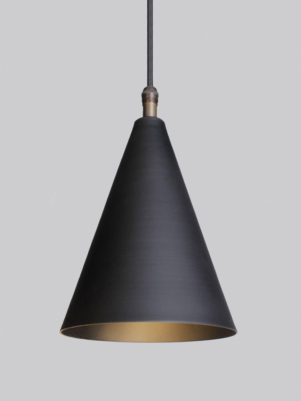 Single Black Brass Cone Pendant Pendant Lighting