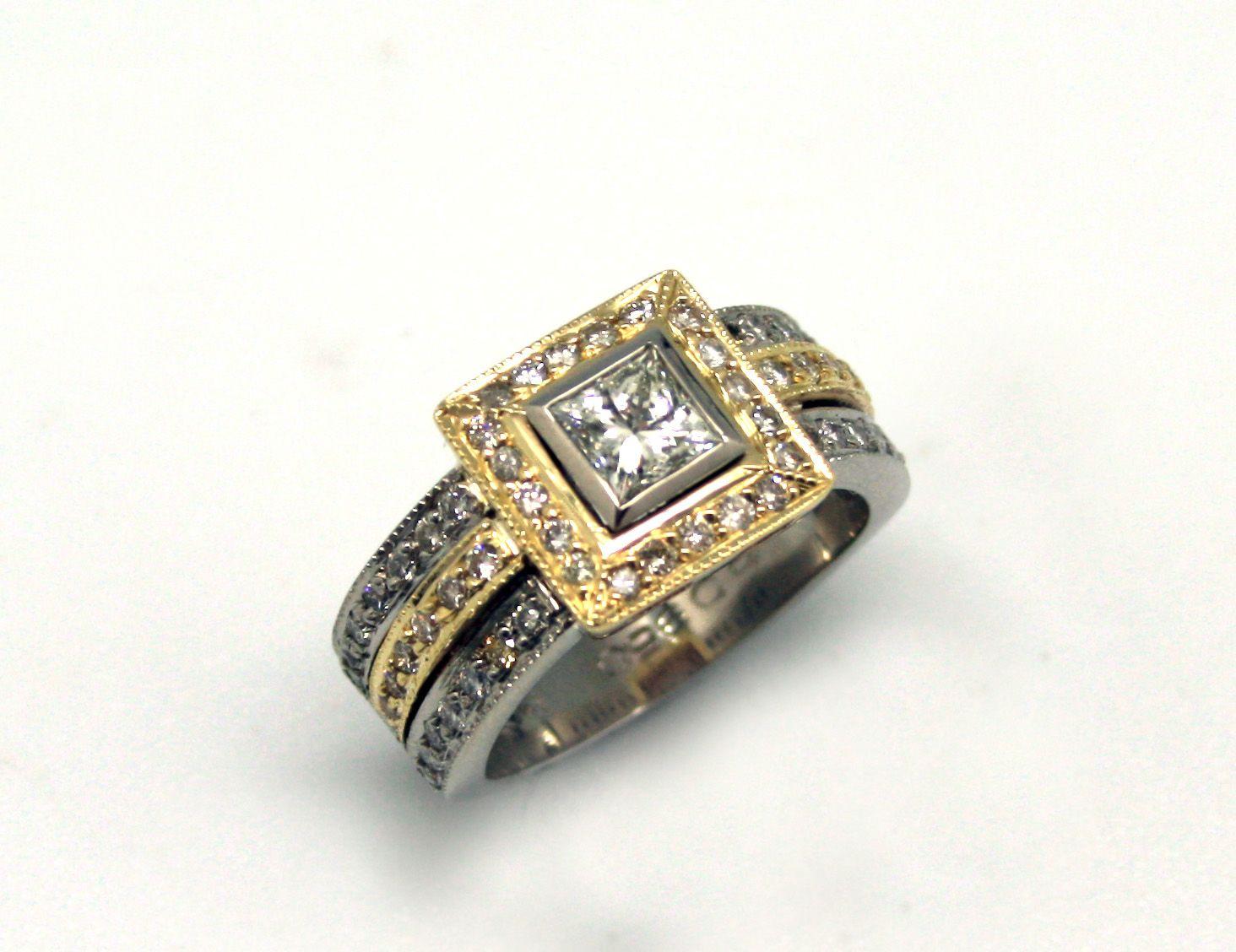 950palladium and yellow gold diamond ring. hand made @ marius nel