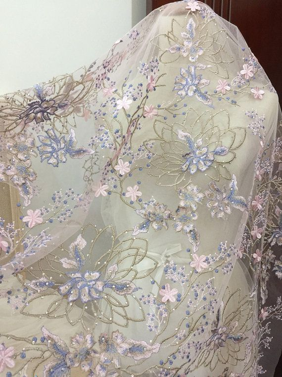 Exquisite 3D heavily rhinestone beaded floral lace fabric in purple ...