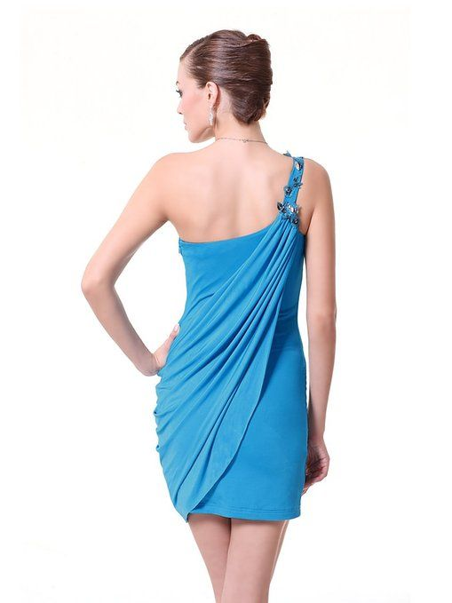 Ever Pretty One Shoulder High Stretch Ornamental Mini Cocktail Dress 03594