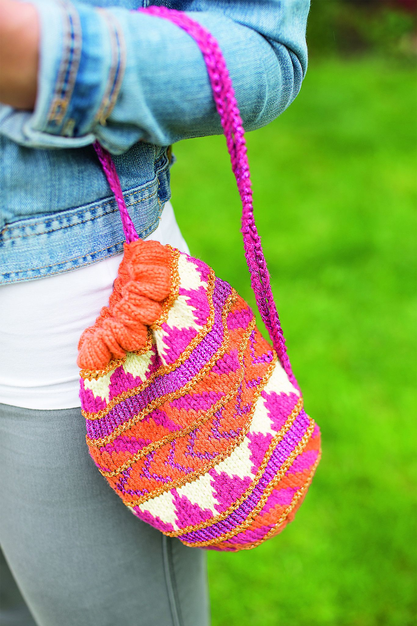 Patterned Drawstring Bag Knitting Pattern | Knitting patterns and ...