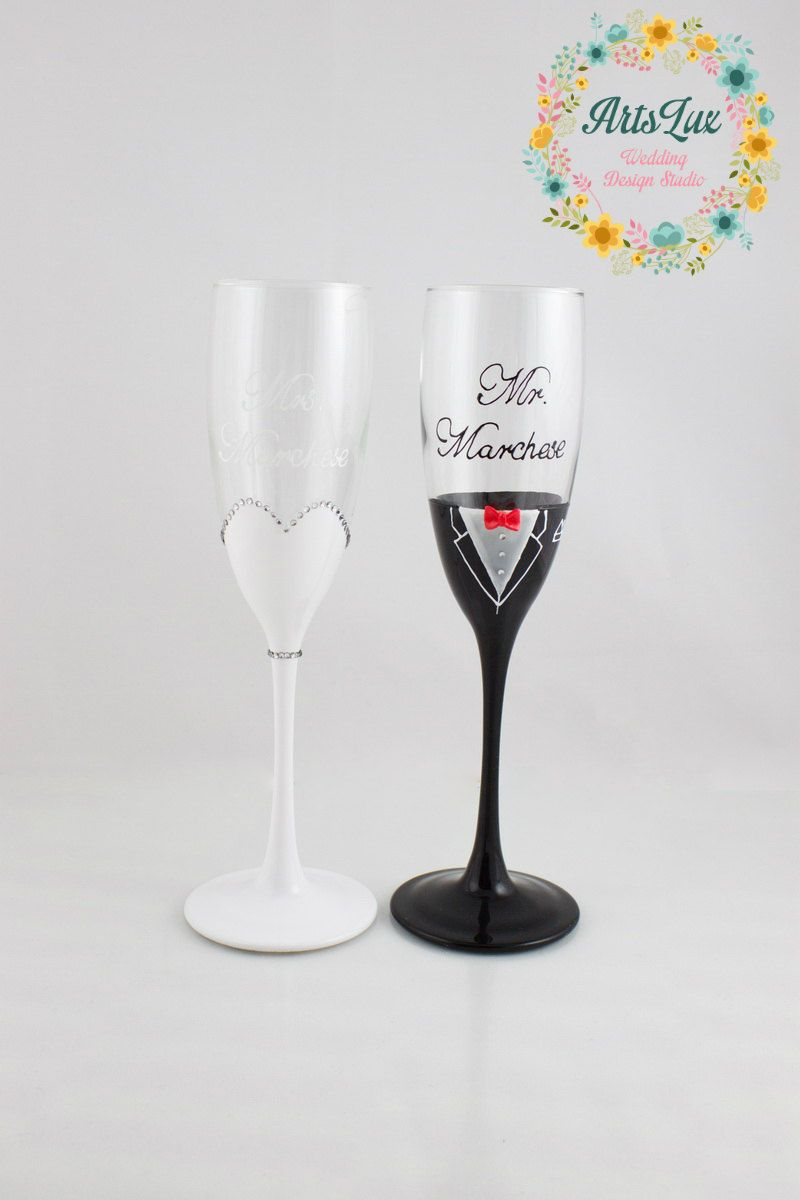 Bride and Groom Champagne Wedding glasses - Hand painted Wedding ...