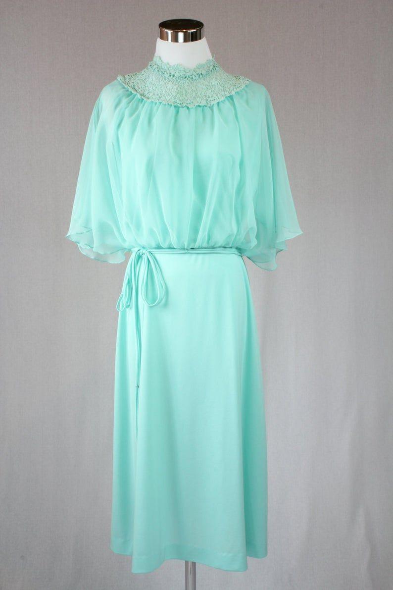 Vintage 17er Jahre Pastell Grün Chiffon Kleid / seidig Kleid