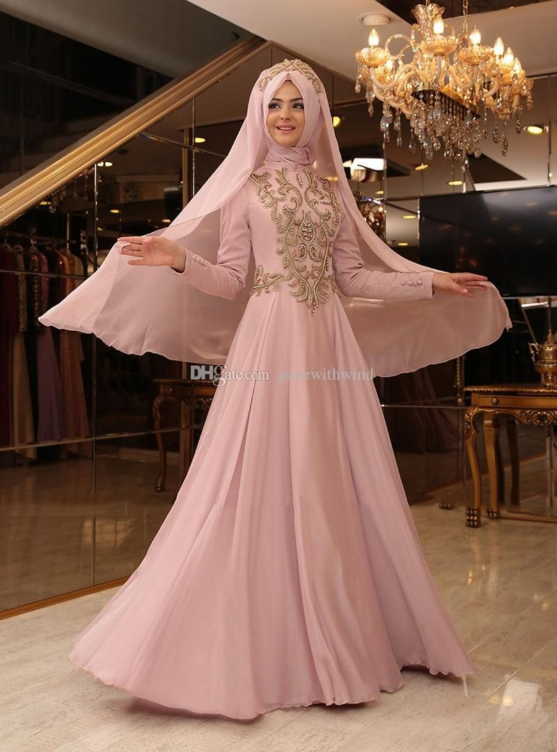 ba785ab155 Muslim Hijab Evening Gowns 2017 Prom Dresses Lace Appliques Beaded ...