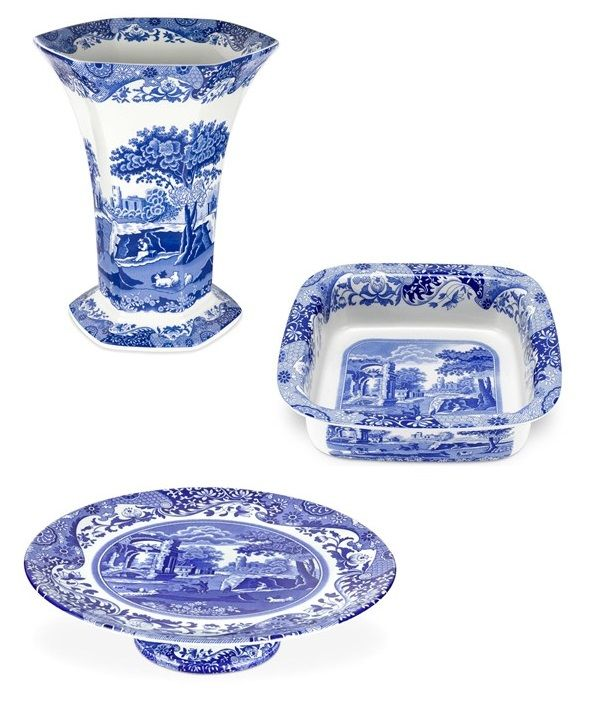 Spode Blue Italian Fine Porcelain Collection Set Of 3 Vase Plate