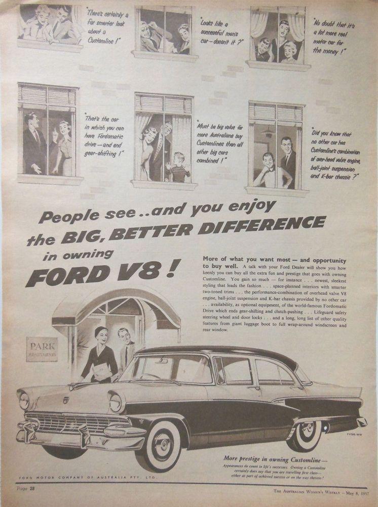 Ford V8 Car Ad 1957 Original Vintage Retro Australian Automobilia Advertising Print Advertising Australian Cars Ford Motor