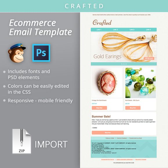 Mailchimp Ecommerce Email Template By Bootstrap Creative On Creative - Bootstrap newsletter template