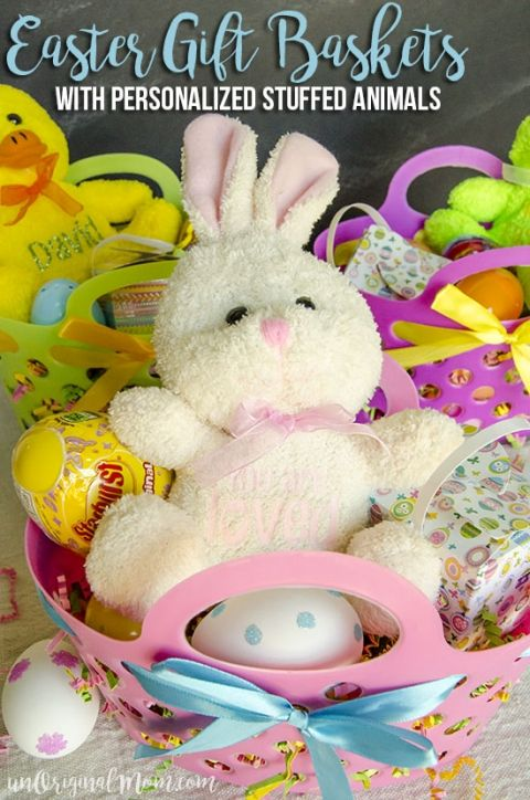 Non candy easter basket ideas for toddlers basket ideas easter cute little easter gift baskets with personalized heat transfer vinyl stuffed animals negle Choice Image