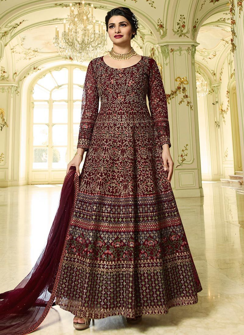 e9a8e94b71 Buy Prachi Desai Wine Party Wear Heavy Anarkali Suit - Best Quality–Liinara