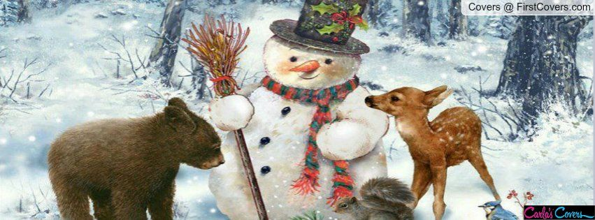 Snowman In Forest Facebook Covers I Cover Background