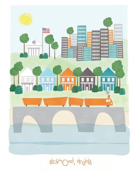 Richmond Virginia 11x14 Print City Ilration Poster Wall Decor Children Nursery Art