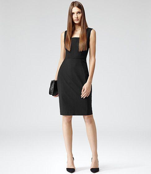 Womens Black Tailored Pinstripe Dress Reiss Garbo Work Clothes