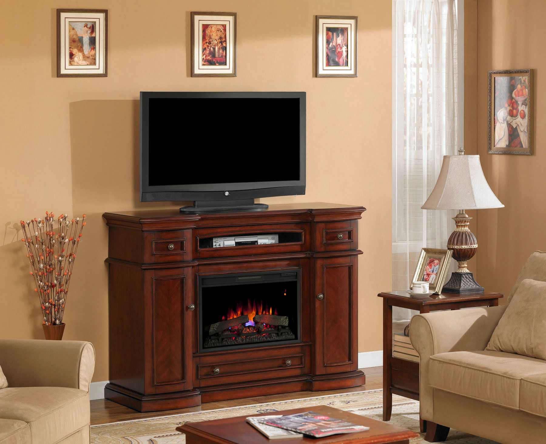 Montgomery 26 Vintage Cherry Media Console Electric Fireplace