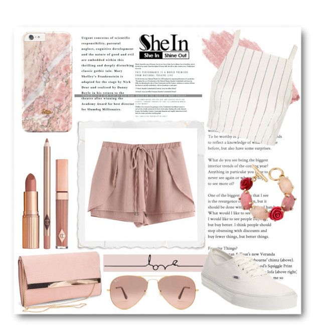 """Shein Pink Drawstring Shorts"" by isis-anubis5 ❤ liked on Polyvore featuring Jane Iredale, Topshop, Vans, New Look, Dolce Vita, Oscar de la Renta and Ray-Ban"