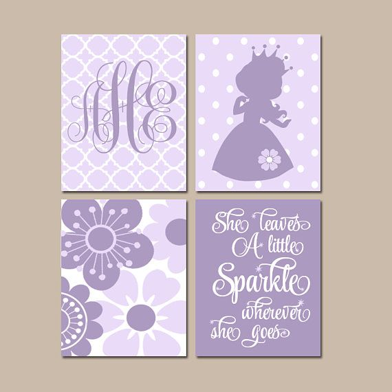 PRINCESS Wall Art, CANVAS or Prints, Baby Girl Nursery Decor, Girl ...