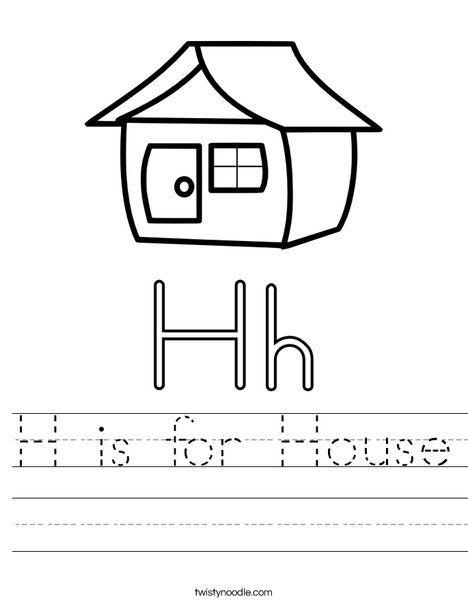 h is for house worksheet handwriting worksheets for. Black Bedroom Furniture Sets. Home Design Ideas