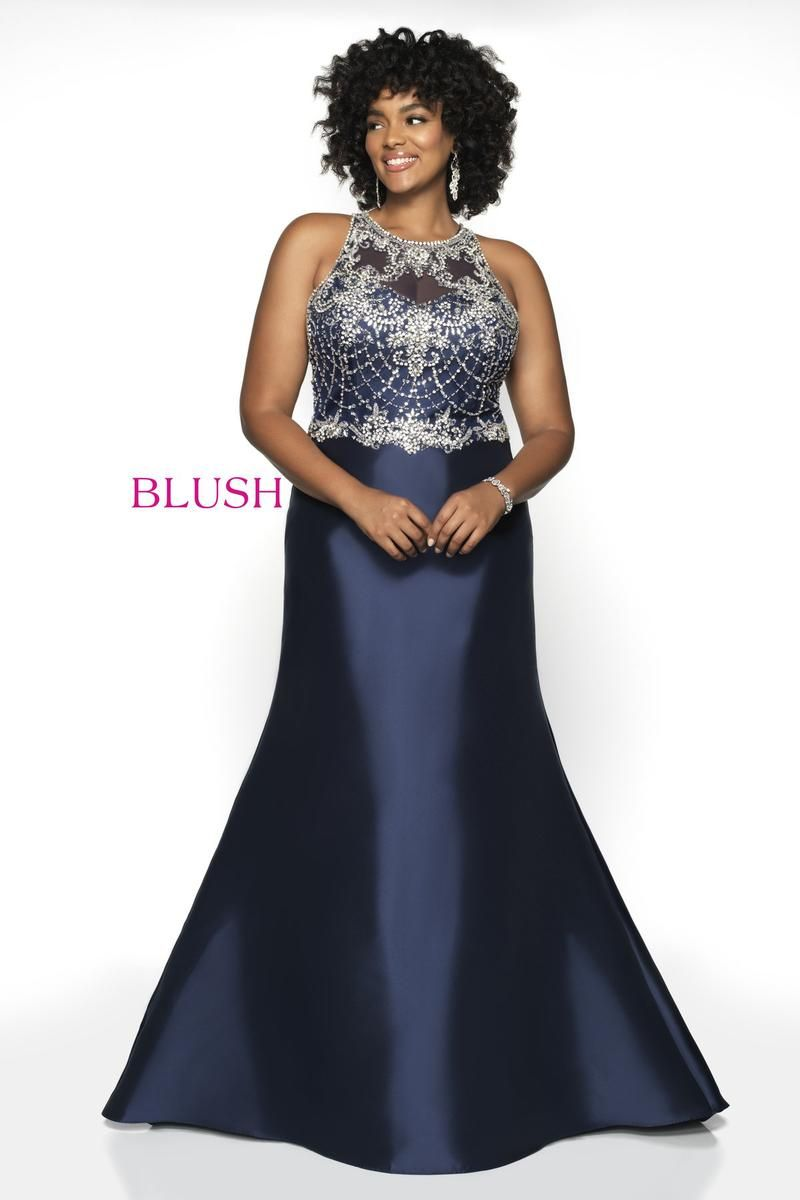 a2d119c9885 Style 11784W from Blush Too is a high neck sleeveless plus size prom gown  with a Hand Beaded Tulle bodice on a Mikado skirt.