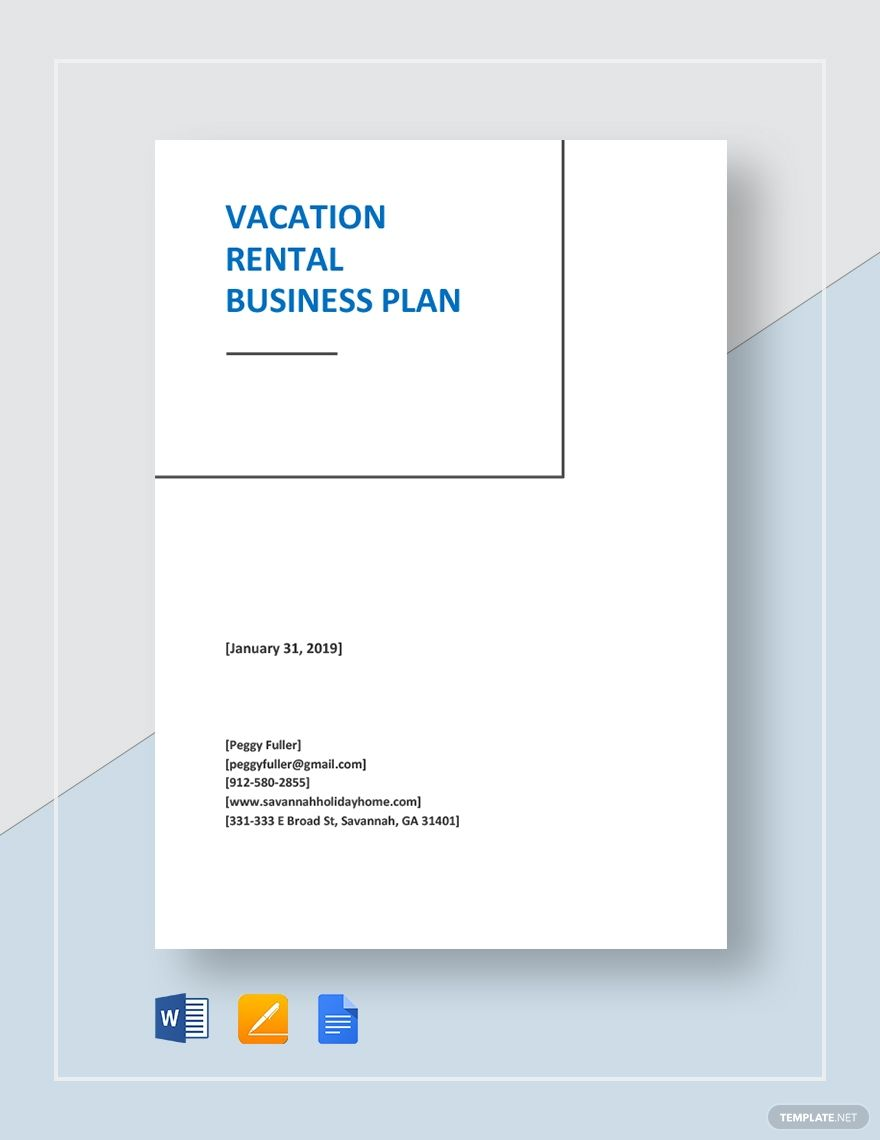 Vacation Rental Business Plan Template Lovely 30 Vacation Rental Business Plan Business Plan Template Simple Business Plan Template Business Plan Template Word