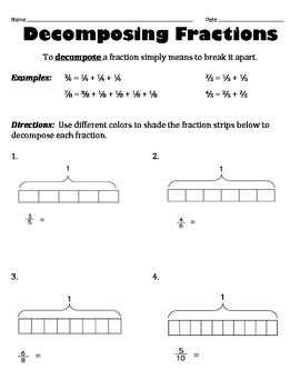 Decomposing Fractions Worksheet   Fractions worksheets