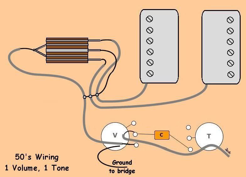2 PU 1 Volume 1 Tone 3 Way 50's Wiring