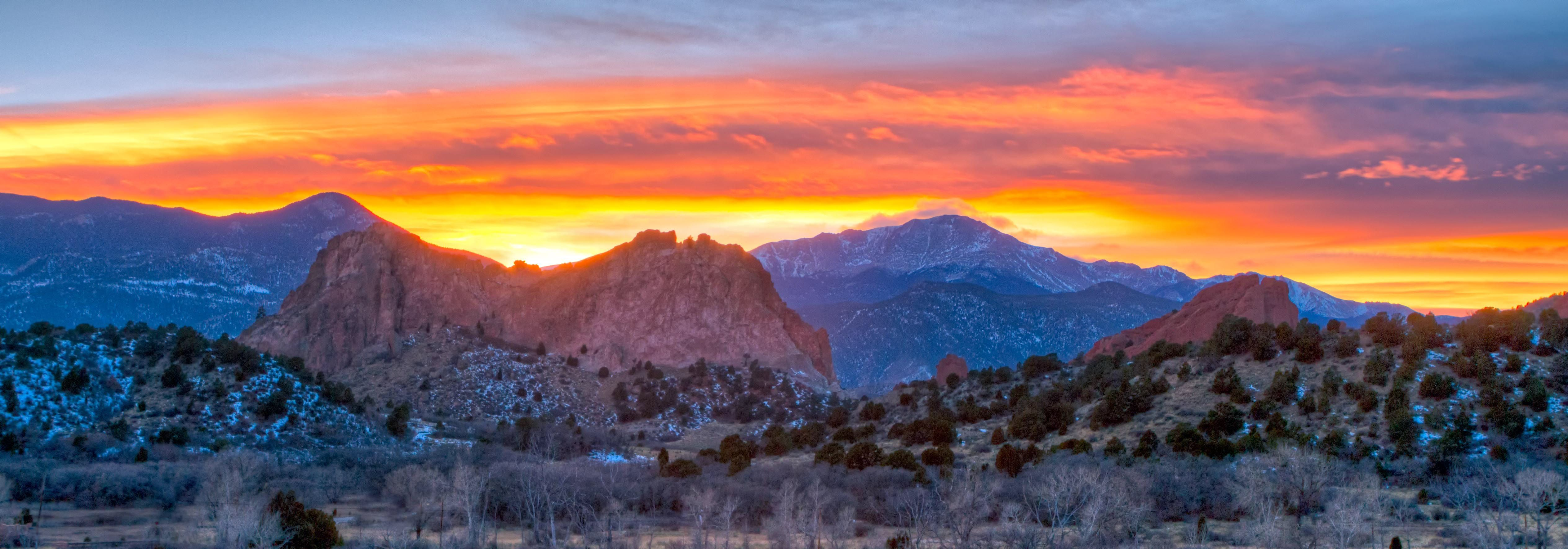 Sunset at Garden of the Gods with Pikes Peak in the