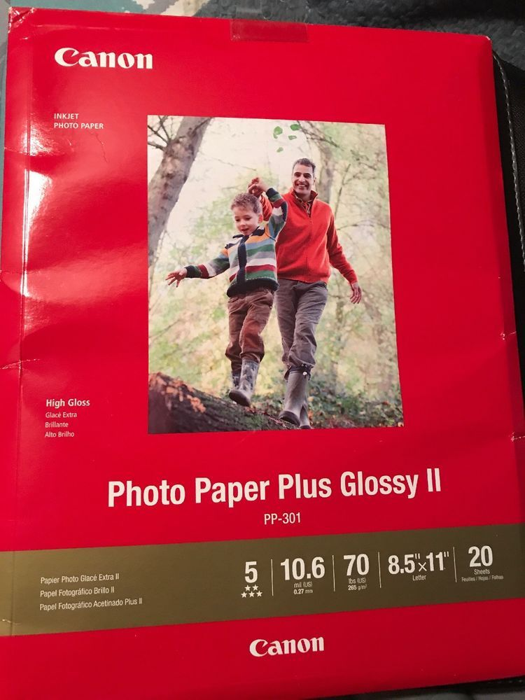 Canon Photo Paper Plus Glossy Ii 8 12 X 11 White 20 Sheets Printer