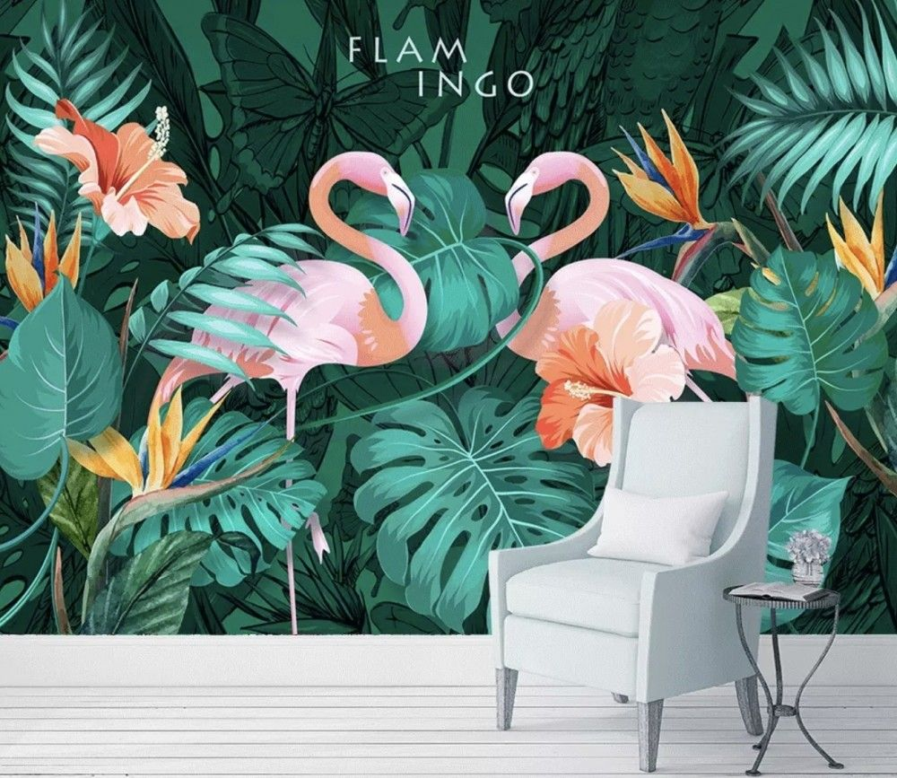 Coral and Pink Flamingo with Tropical Leafy Wallpaper