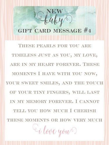 New Baby Gift Card Message 4 These Pearls For You Are Timeless