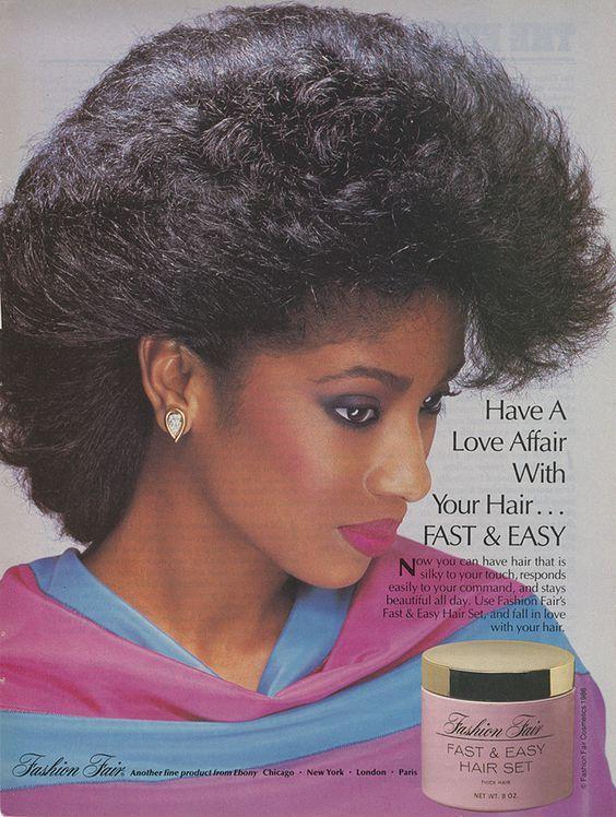 Lavon Evans Fashion Fair Cosmetics Fast Easy Hair Set Advertisement 1980s Makeup And Hair 1980s Black Hairstyles Lilac Hair