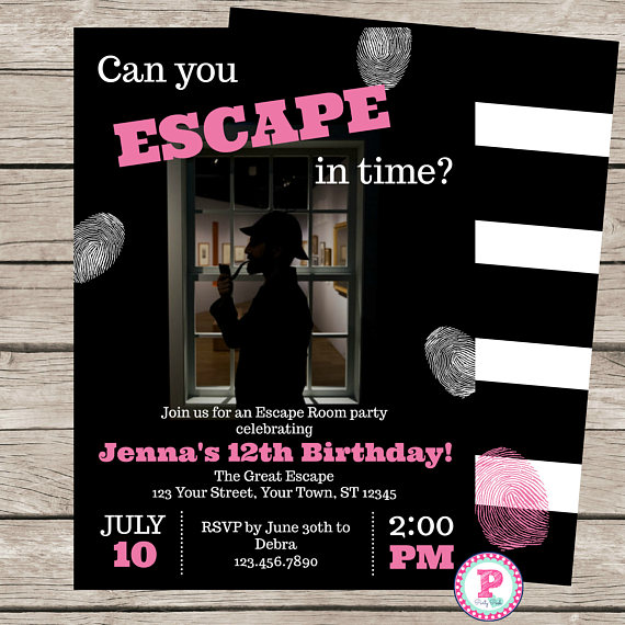 Girl 39 s escape room birthday party invitation game mystery for Escape room ideen