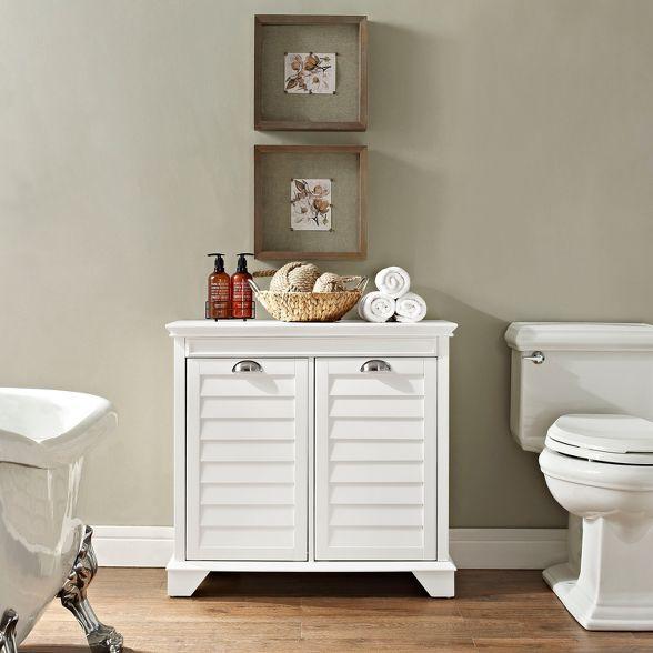 Crosley Linen Hamper In White Decorative Storage Cabinets Linen Cabinet Corner Storage