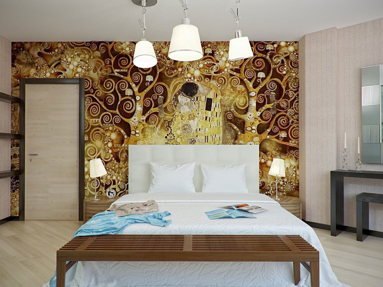 Bold Artistic Wall Decorations For Bedroom: Artistic Gold Brown White Wall  Decor Bedroom Design