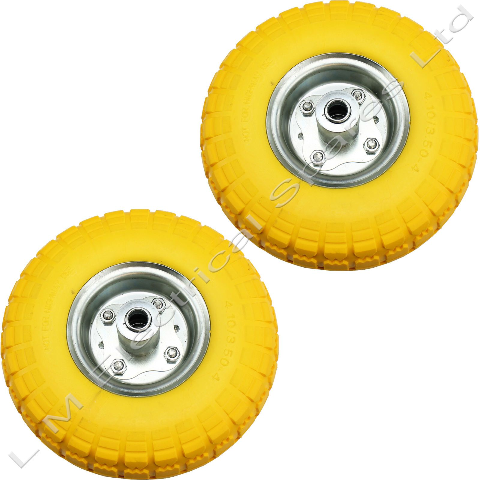 """4 x 10/"""" Puncture Burst Proof Solid Rubber Sack Truck Trolley Wheels Tyres NEW"""