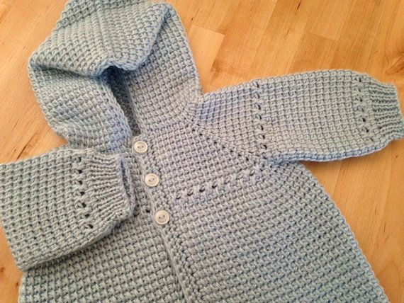 Crochet Baby Boy Sweater with Hood Blue 0-3 von ForBabyCreations ...