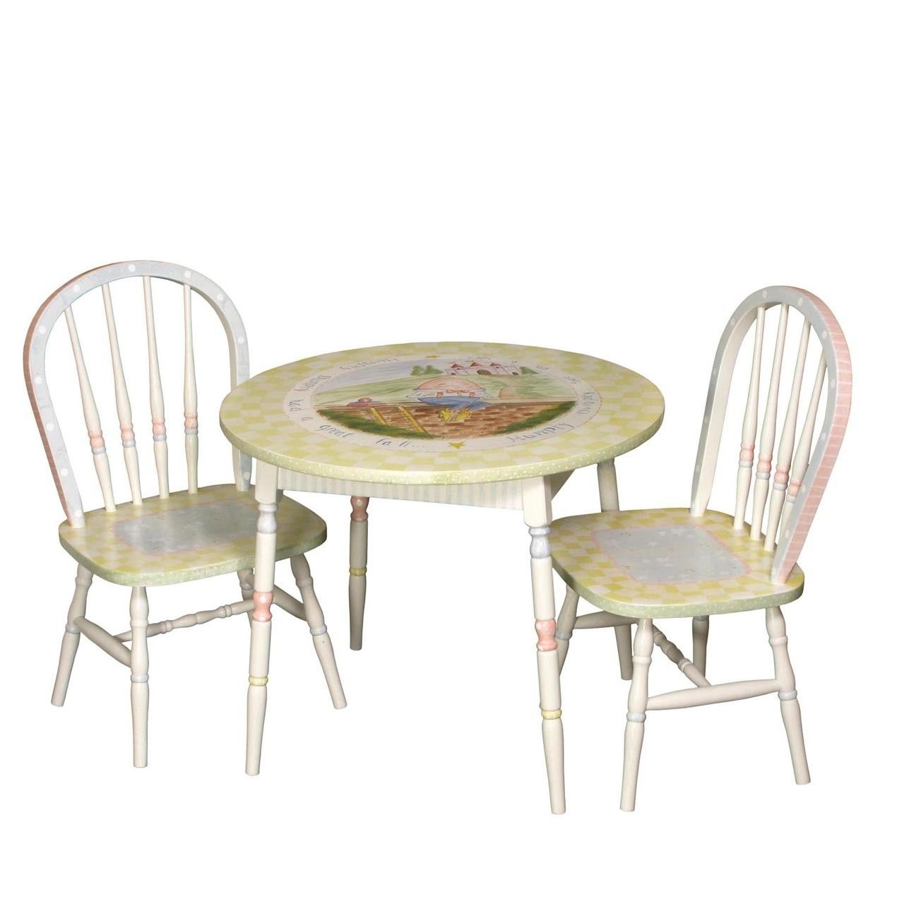Child S Hand Painted Nursery Rhymes Play Table And Chairs Set  # Web Muebles Jobe