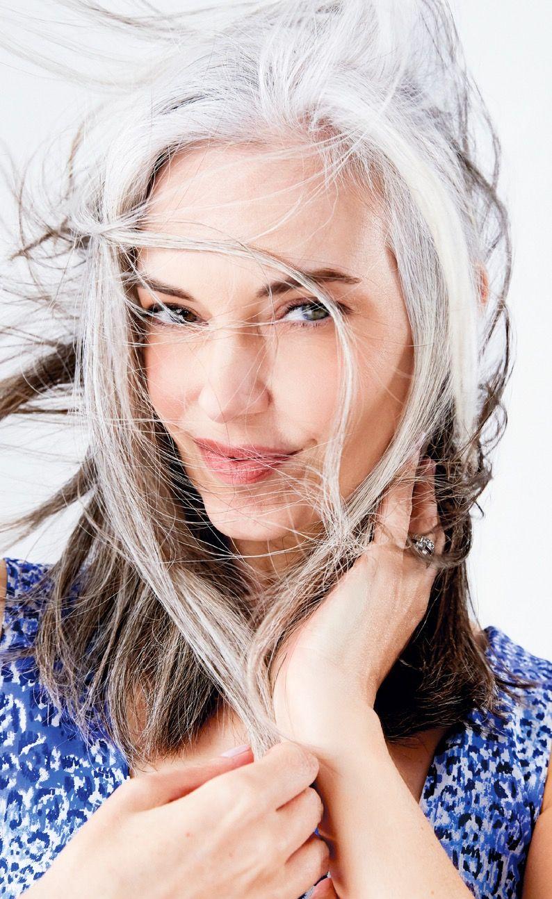 Salt and pepper gray hair. Grey hair. Silver hair. White