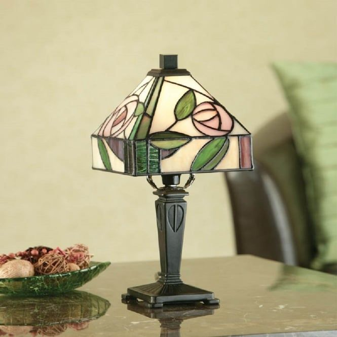 Small Tiffany Glass Table Lamp In Mackintosh Art Nouveau Style